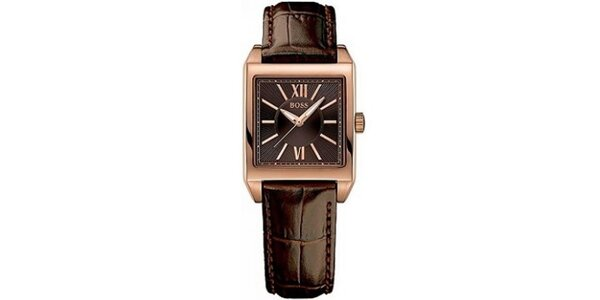 Dámske hranaté pozlátené hodinky Hugo Boss Orange