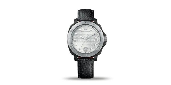 Pánske černo-strieborné analógové hodinky Hugo Boss Ornage