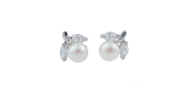 Dámske biele perlové náušnice Orchira s lístočkami