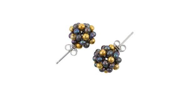 Dámske náušnice s čiernymi perlami a zlatými korálkami Orchira
