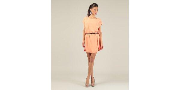 Dámske oranžové krátke šaty s opaskom Lili Lovely