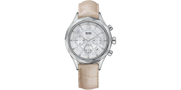 Dámske oceľové hodinky so svetlým koženým remienkom Hugo Boss