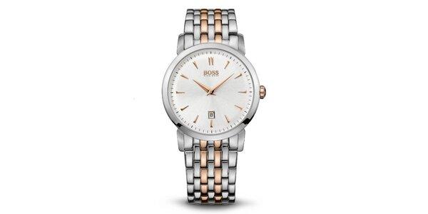 Pánske oceľové hodinky v dvoch farebných tónoch Hugo Boss