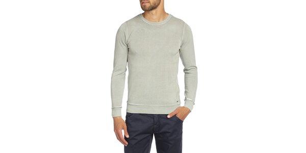 Pánsky svetlo šedý sveter so záplatami LIU•JO