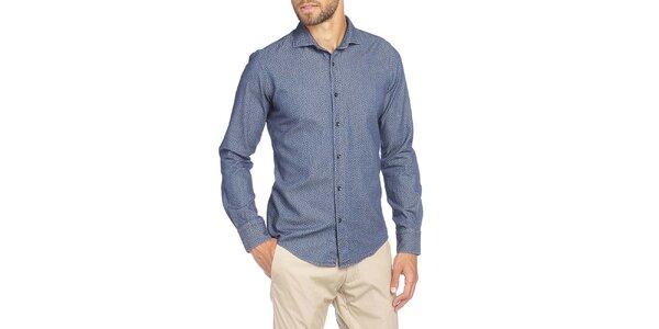 Pánska modrá košeľa s drobným kvetinovým vzorom LIU•JO
