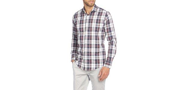 Pánska kockovaná košeľa s dlhým rukávom LIU•JO