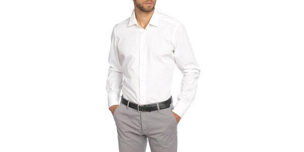 Pánska biela košeľa s dlhým rukávom LIU•JO