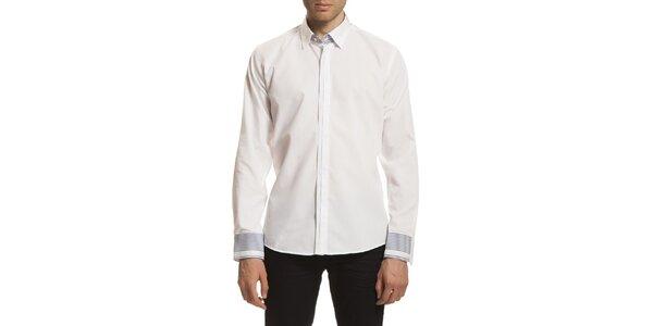 Pánska biela košeľa so vzorovanými manžetami Dewberry