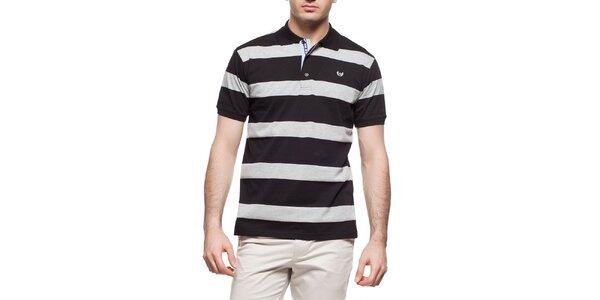 Pánske šedo-čierne pruhované polo tričko Dewberry