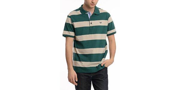 Pánske zeleno-béžove pruhované polo tričko Dewberry
