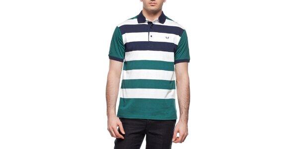 Pánske zeleno-modro-biele pruhované polo tričko Dewberry