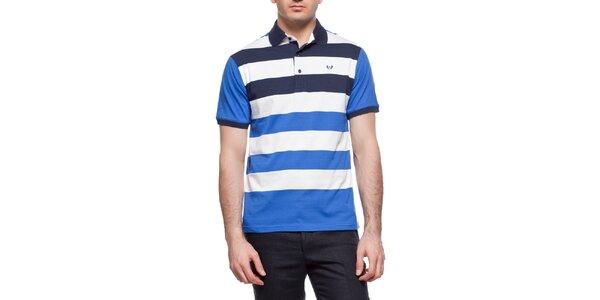 Pánske modro-biele pruhované polo tričko Dewberry