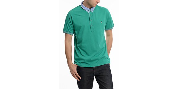 Pánske zelené polo tričko s kontrastným límčekom Dewberry