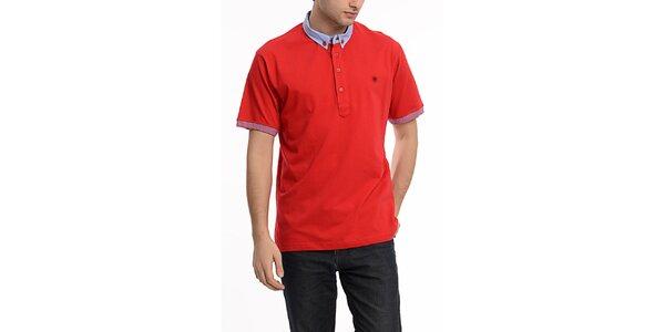 Pánske červené polo tričko s kontrastným límčekom Dewberry