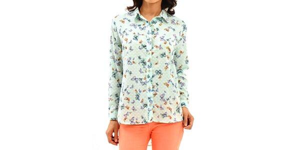 Dámska svetlo zelená košeľa s motýlikmi Dewberry