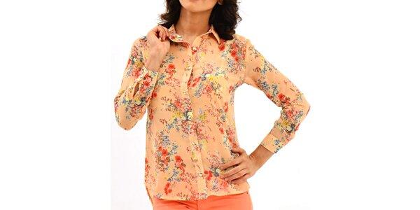 Dámska lososová košeľa s kvetinovou potlačou Dewberry