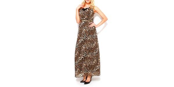 Dámske čierno-hnedé šaty s leopardím vzorom Dewberry
