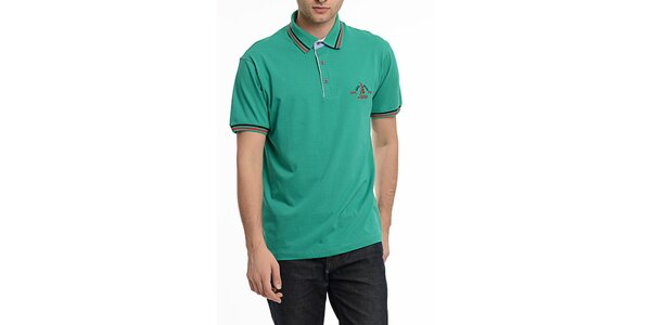 Pánske zelené polo tričko s pruhmi na límčeku Dewberry
