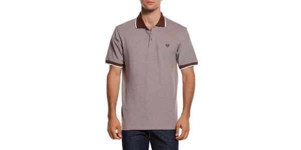 Pánske polo tričko s hnedým límčekom Dewberry