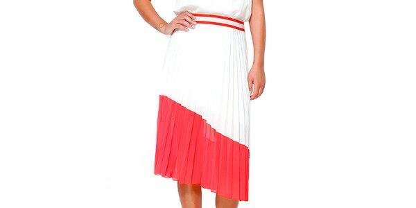 Dámska červeno-biela skladaná sukňa Dewberry