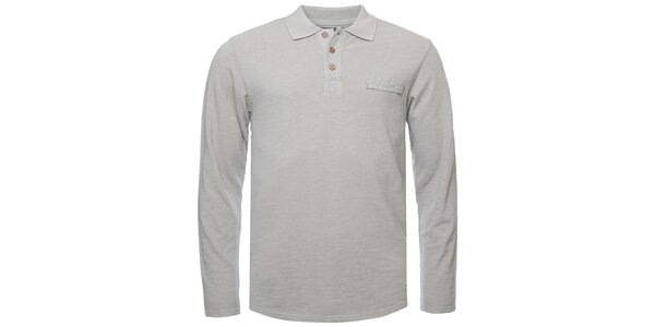 Pánske svetlo šedé polo tričko s dlhým rukávom Bushman