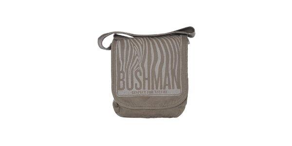 Šedá taška cez rameno so zebrím motívom Bushman