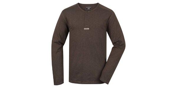 Pánske hnedé tričko s dlhým rukávom Bushman