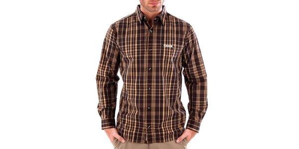 Pánska hnedá pruhovaná košeľa Bushman