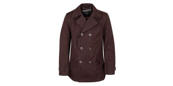 Pánsky tmavo hnedý kabát Bushman