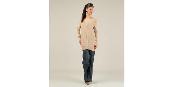Dámsky karamelový sveter s prekrýženým chrbtom Lili Lovely