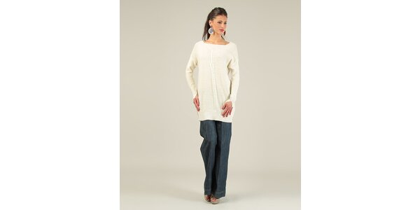 Dámsky smotanový sveter z prekrýženým chrbtom Lili Lovely