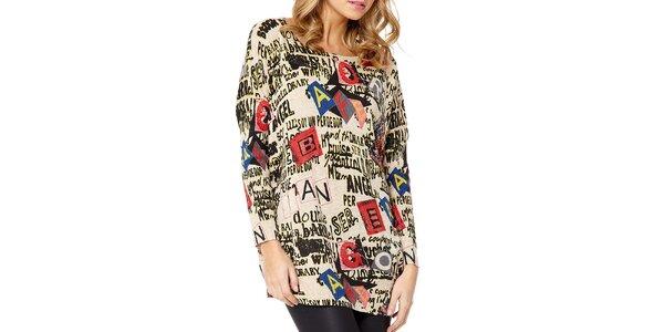 Dámsky béžový sveter s nápismi Miss Jolie