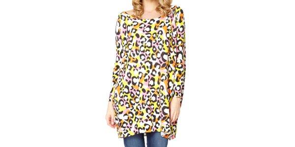 Dámsky dlhý sveter s farebnou leoparďou potlačou Miss Jolie