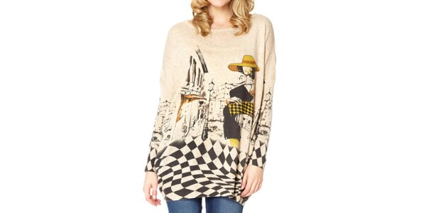 Dámsky béžový sveter s dámou Miss Jolie