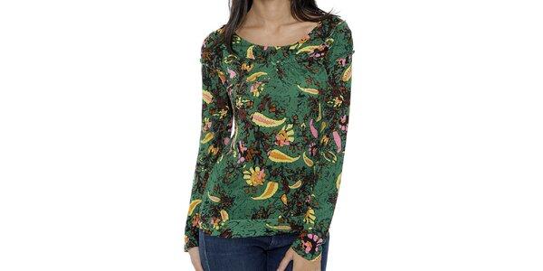 Dámske zelené tričko s dlhým rukávom a farebným vzorom Peace&Love