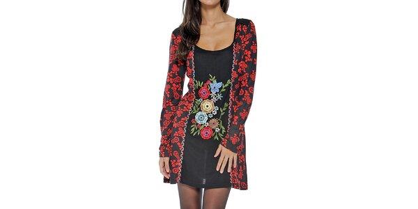 Dámske čierne šaty s kvetinovou dekoráciou Peace&Love