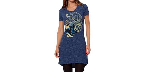 Dámske modré melírované šaty s krátkym rukávom Peace&Love