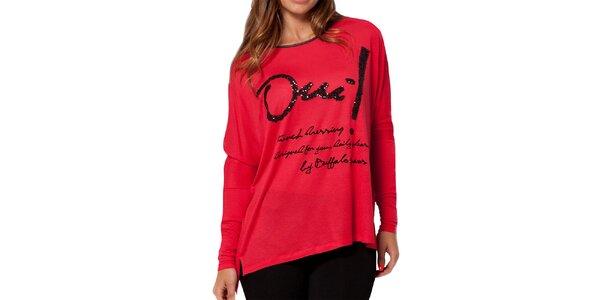 Dámske červené voľnejšie tričko Peace&Love