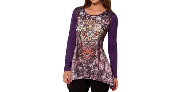 Dámske fialové tričko s dlhým rukávom a potlačou Peace&Love