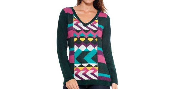 Dámsky tmavý sveter s farebným vzorom Peace&Love