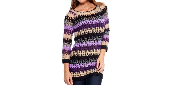 Dámsky pestrofarebný pletený svetrík Peace&Love
