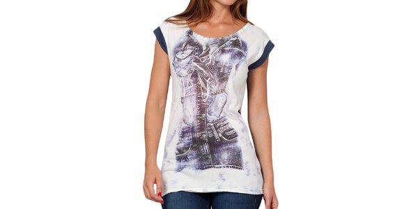 Dámske modrobiele tričko s potlačou Peace&Love