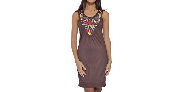 Dámske hnedé šaty s farebným dekoltom Peace&Love