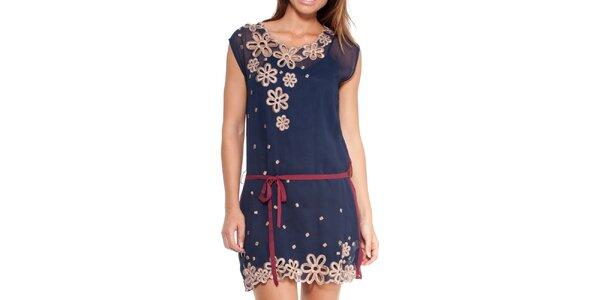 Dámske modré šaty so zaväzovaním v páse Peace&Love