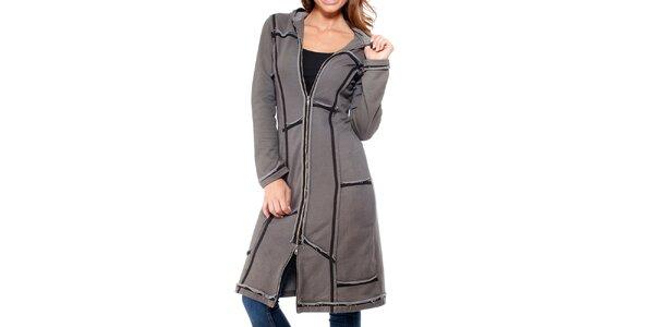 Dámsky šedý kabát na zips Peace&Love