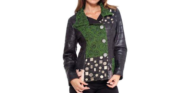 Dámsky čierno-zelený krátky kabátik Peace&Love