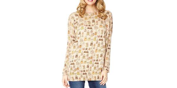 Dámsky béžový sveter s potlačou kabeliek Miss Jolie