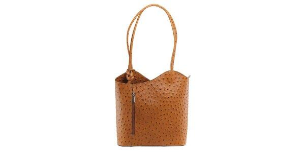 Dámska hnedá kožená kabelka s reliéfnym vzorom Florence Bags