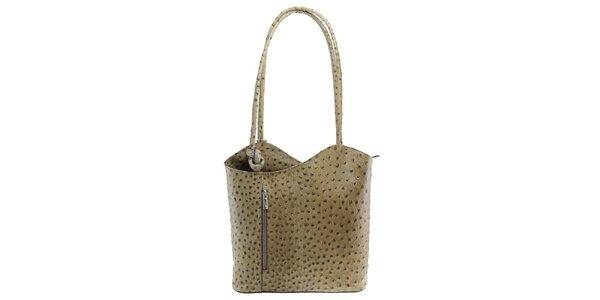 Dámska šedohnedá kožená kabelka s reliéfnym vzorom Florence Bags