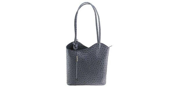 Dámska šedá kožená kabelka s reliéfnym vzorom Florence Bags